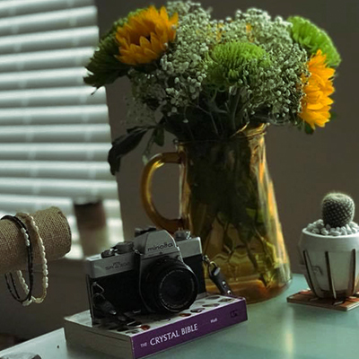 Photo of a Candid desk shot with sunflowers